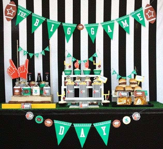 Love this Super Bowl snack table from Celebrations at Home--- GO GIANTS!!!