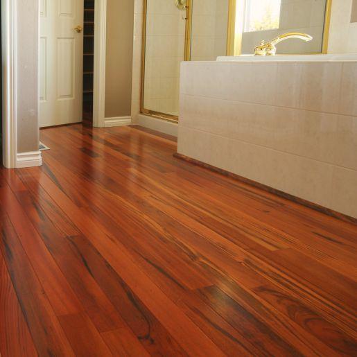 Tigerwood Hardwood Flooring Bathroom Scene