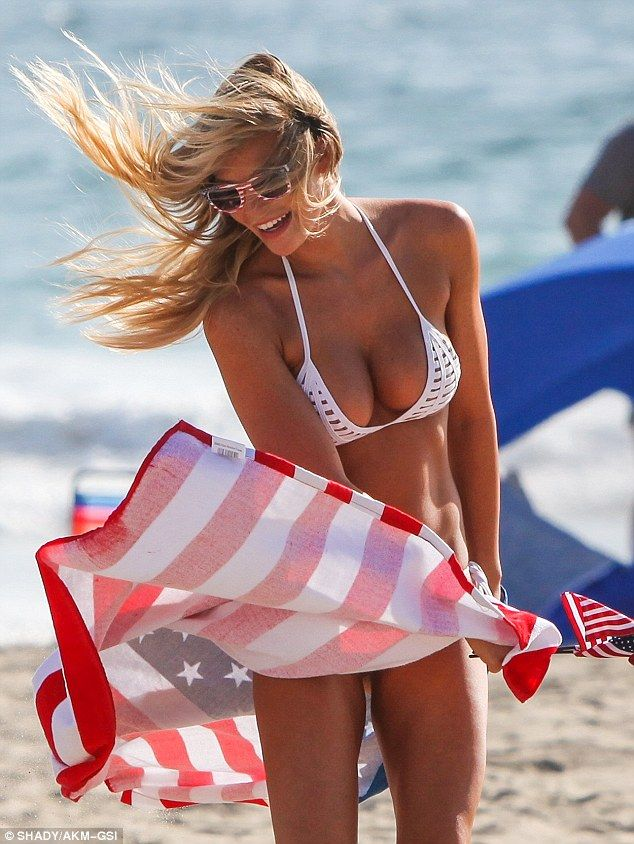 Windy: The SI Swimsuit stunner's over-the-top Yankee Doodle tribute likely had everything to do with the Labor Day holiday
