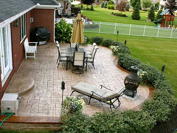 Cement Ideas For Backyard concrete patio stamped Find This Pin And More On Backyard Ideas