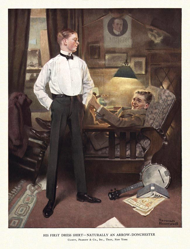 """His first Dress shirt - naturally an Arrow-Donchester""....advertisement for Arrow Shirts,1920 by Norman Rockwell .....published in the HARVARD LAMPOON. Presumably meant to be Harvard or other Ivy league roommates....note the poster with the Arrow man in the background..."