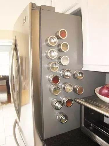 pote individual de porta tempero inox com imã p geladeira