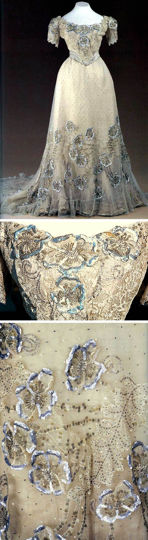 Evening gown, Nadezhda Lamanova, Moscow, early 1900s. White satin with tulle and chiffon, sequins, and embroidery. Silver brocade belt. Made for Empress Alexandra.