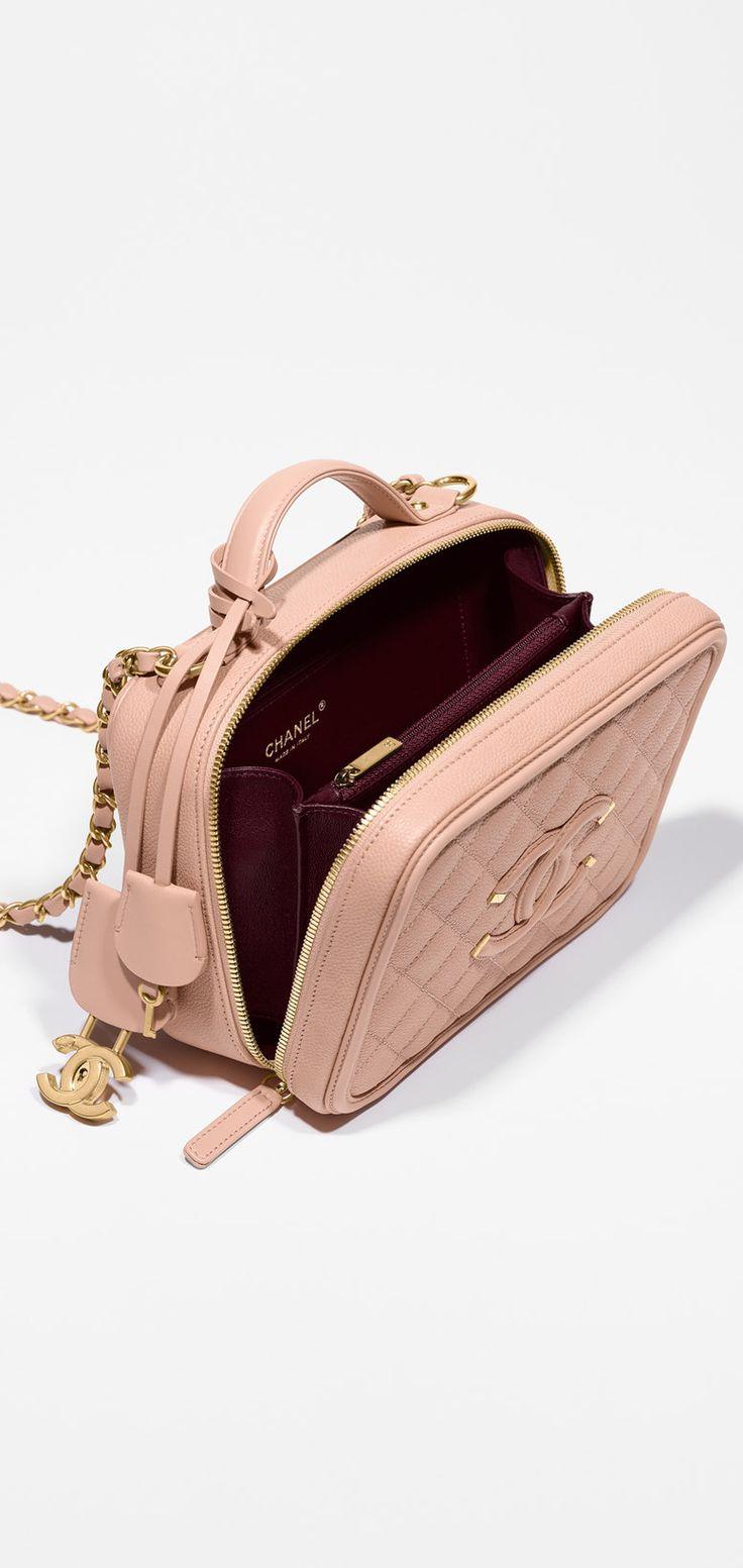 Vanity case, grained calfskin & calfskin-beige - CHANEL