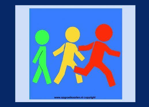 Pictogram, rustig lopen niet rennen. Deze kaart is handig voor scholen en kinderopvang.