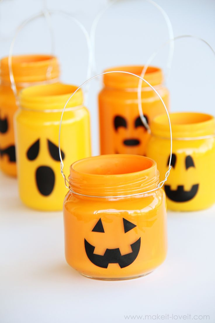 DIY- Easy Pumpkin Jars ! Add treats, candles, or nothing at all !(Made From Recycled Jars)