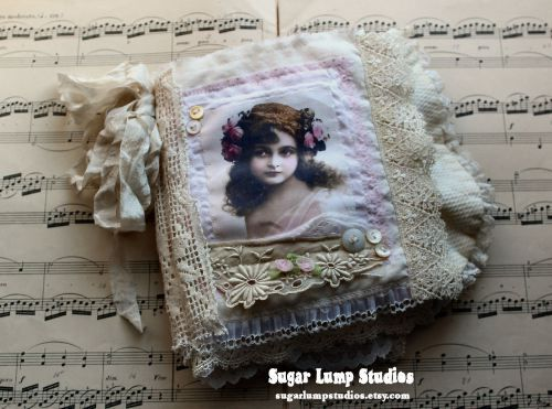 fabric lace book by Sugar Lump Studio - Rose Garden Vintage Fabric Journal