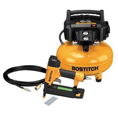 Bostitch BTFP1KIT-CA 0.8 HP 6-gal 150 PSI Pancake-Tank Electric Air Compressor 1-Tool Kit
