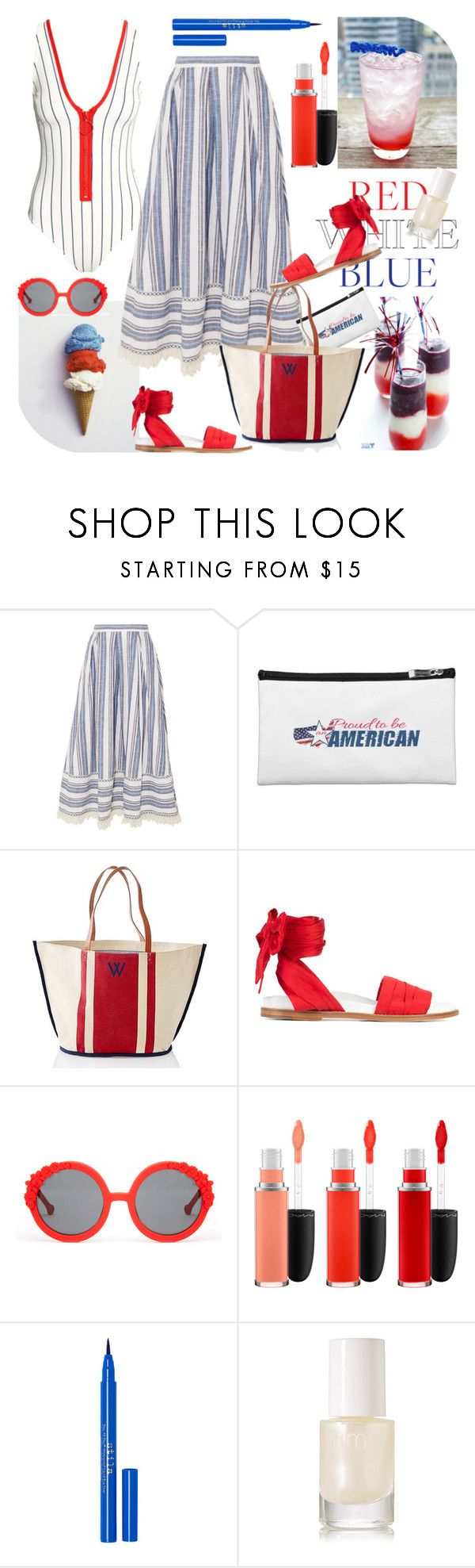 """Red, White & Blue Summer Time"" by ellie366 ❤ liked on Polyvore featuring Gül Hürgel, Mark & Graham, Marques'Almeida, Preen, MAC Cosmetics, Stila, rms beauty, beachday, stripes and summerstyle"