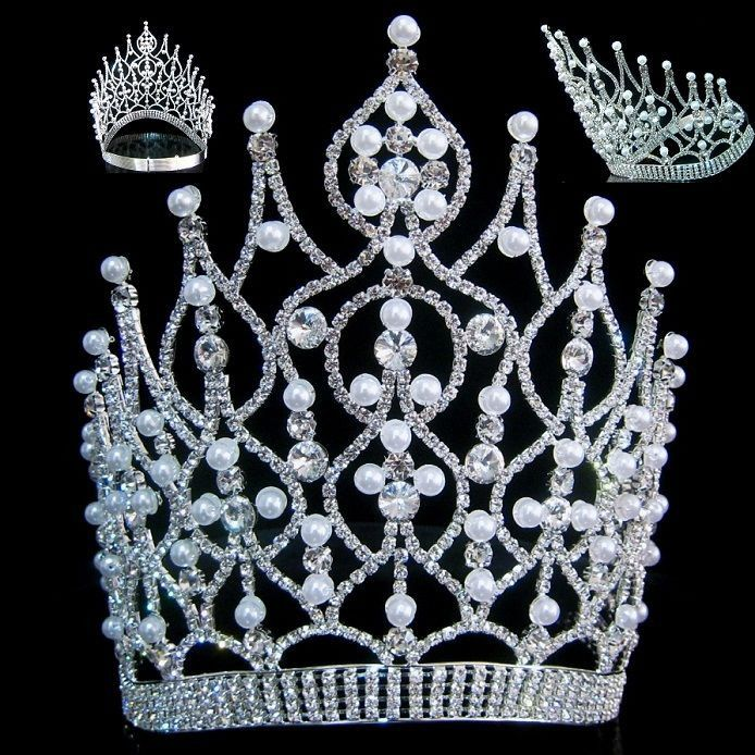 Large Beauty Pageant Rhinestone Adjustable contoured pearl silver crown