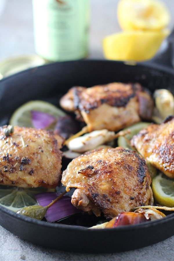 Best Ever Pan Roasted Chicken with Lemon, Caper Berries and Roasted Garlic 3