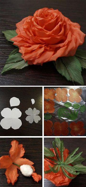 How to make silk rose flower. Click on image to see step-by-step tutorial