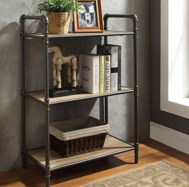 Christofor Industrial Etagere Bookcase Metal Bookshelf Etagere Bookcase Cube Bookcase