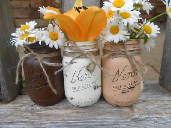 Mason Jars Painted Mason Jars Flower Vases by MasonJarCreation, $24.00