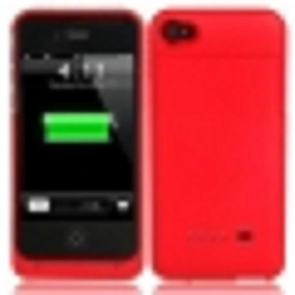 1900mAh Rechargeable External Lithium Battery for iPhone 4/4S in a red case