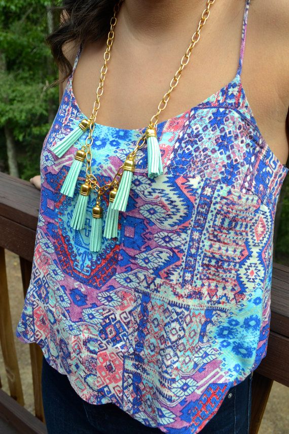 Mint Tassel Waterfall Necklace on Thick Gold Chain