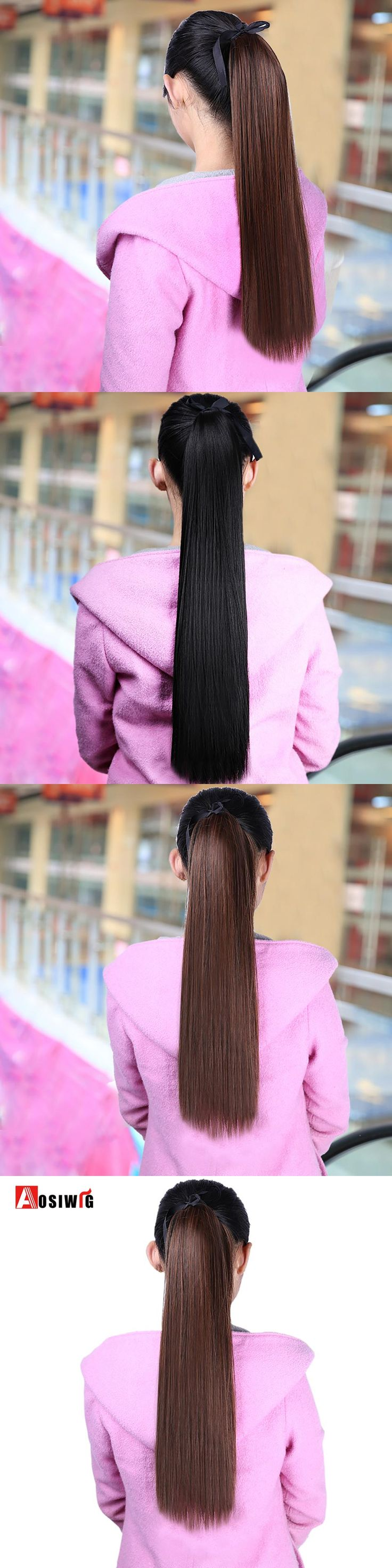 AOSIWIG 22'' Long Straight Ponytails Clip In Ponytail Drawstring Synthetic Pony Tail Heat Resistant Fake Hair Extensions