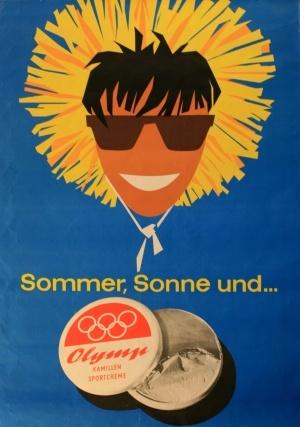 Sun Cream Olymp, 1950s - original vintage poster listed on AntikBar.co.uk