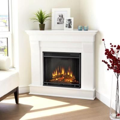 Corner Electric Fireplace & mantle- Bedroom wish list! Would make such a cozy reading nook!