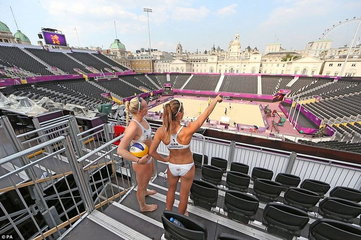 Hopefuls: Team GB's Shauna Mullin (left) and Zara Dampney take in the imposing stadium. They will play their first match on Saturday