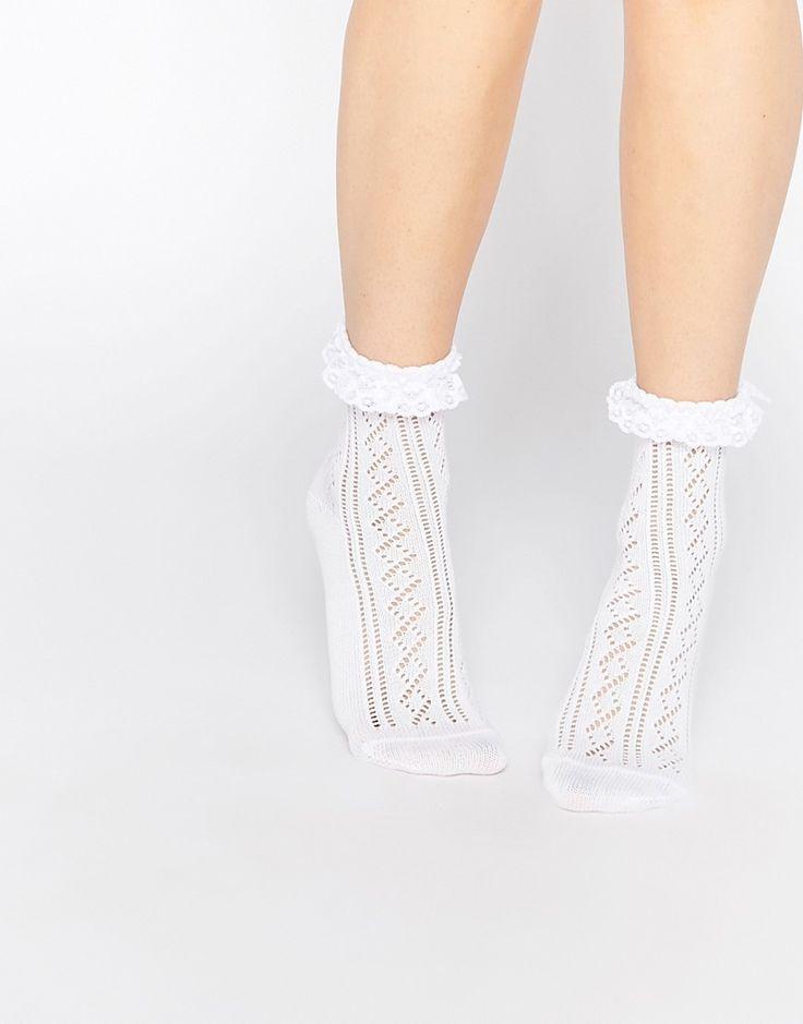 Image 1 ofASOS Crochet Lace Frill Ankle Socks