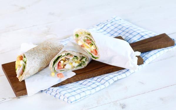 Oppskrift på Wraps med kremost, egg og skinke, foto: