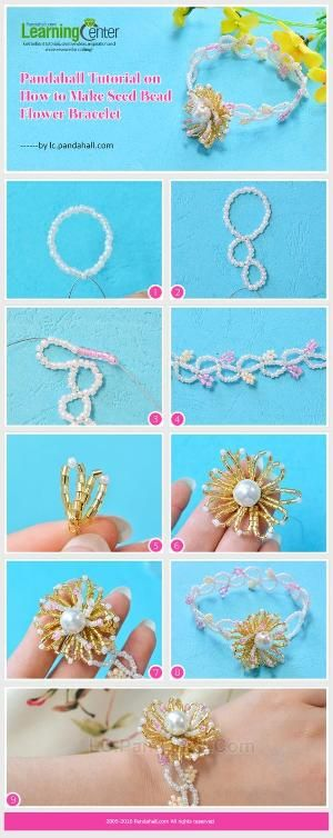 Pandahall Tutorial on How to Make Seed Bead Flower Bracelet from LC.Pandahall.com | Jewelry Making Tutorials & Tips 2 | Pinterest by Jersica