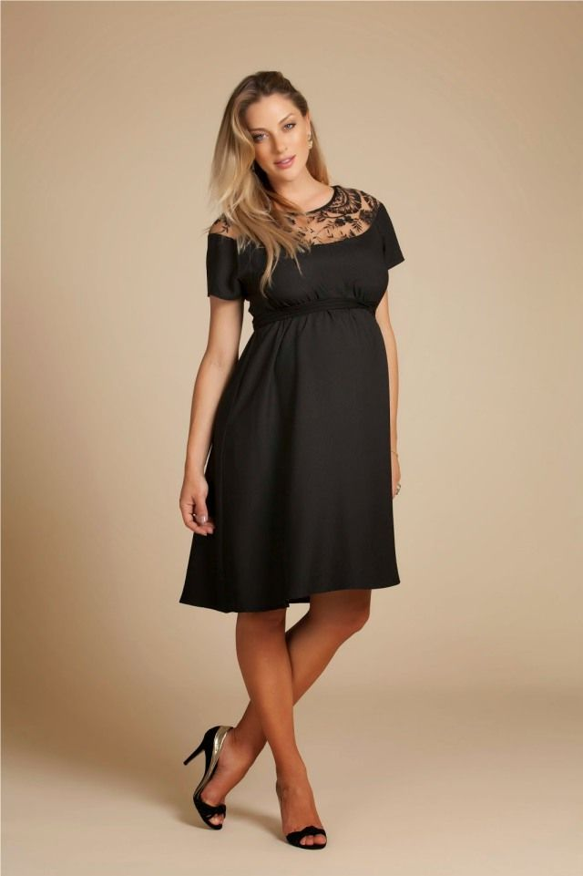 Vestido preto renda gestante Mais