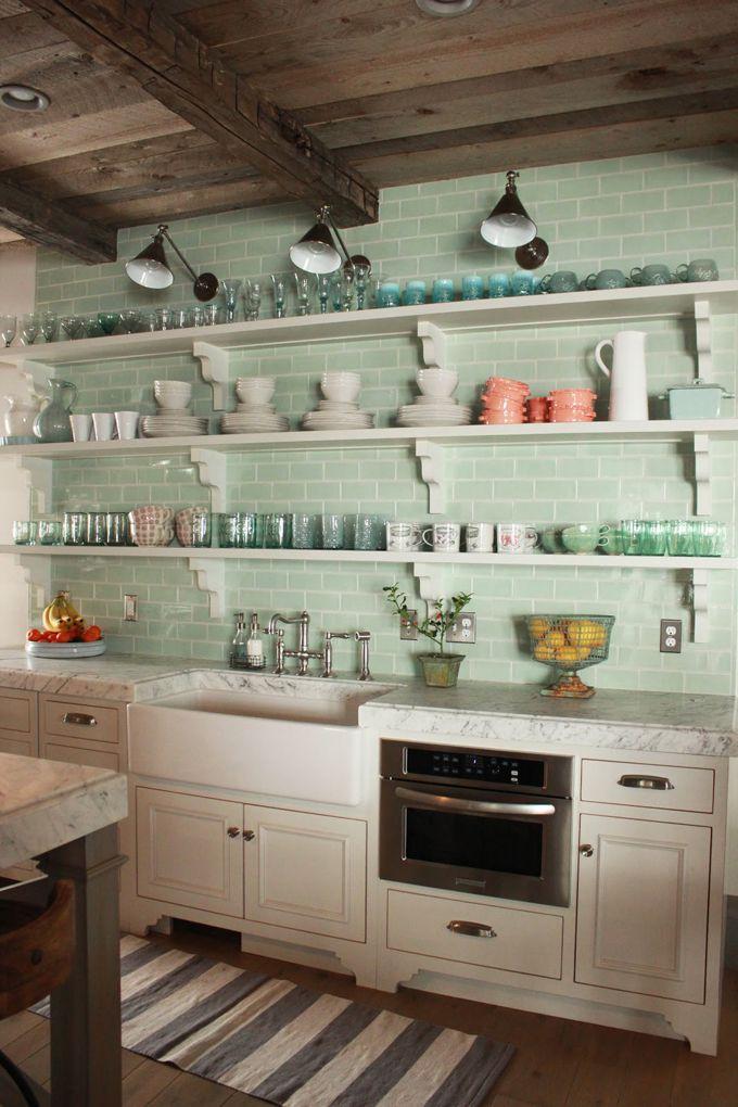colored backsplash tile + open shelving