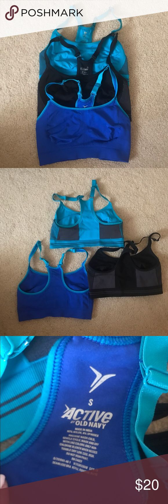 Lot of 3 Old Navy sports bras 3 Old Navy sports bras size S... originally $12 each.. great condition.., one black, one aqua, one blue Old Navy Intimates & Sleepwear Bras