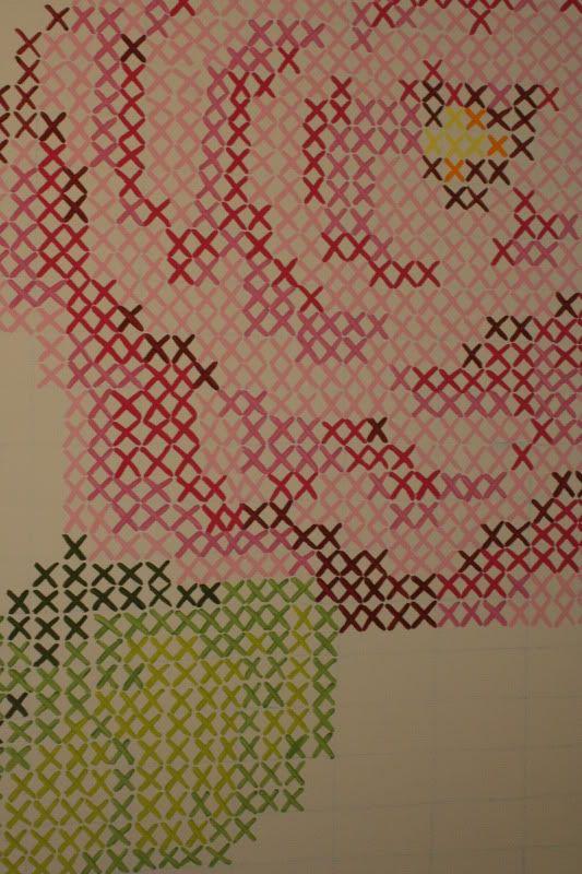 cross stitch wall art - guest room