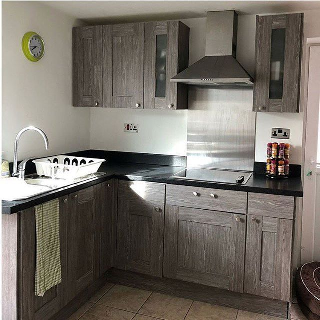 Kitchen Makeover With Dcfix Design Oak Sheffield Pearl Grey Check Out Louise812 To See It Before Kitchen Cabinets Wrapped Cupboard Design Dc Fix Kitchen