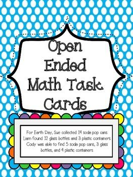 Open Ended Higher Level Thinking Math Task Cards - Love this idea for getting kids to think in a different way FREE!