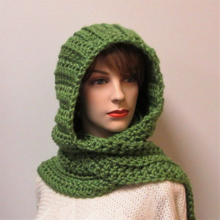 Avocado Green Scarf with Hood, Hooded Scarf, Gift for Women, Fashion Scarf, Winter Scarf, Warm Crochet Scarves, Elizabeth B6-059 by CeciliaAnnDesigns on Etsy