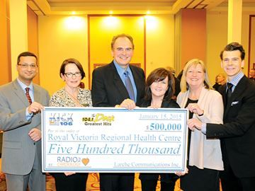 Larche announces third pledge for RVH - Larche Communications completed its $500,000 pledge to the Royal Victoria Health Care Centre on Thursday. At the presentation were Dr. Farrukh Hussain, cardiologist at RVH, Janice Skot, president and CEO of RVH, Paul Larche, president of Larche Communications, Lawrene Larche, Arlette Utton, chair of the RVH foundation board of directors and Dr. Chrstiaan Stevens, clinical director Simcoe Muskoka Regional Cancer Program.