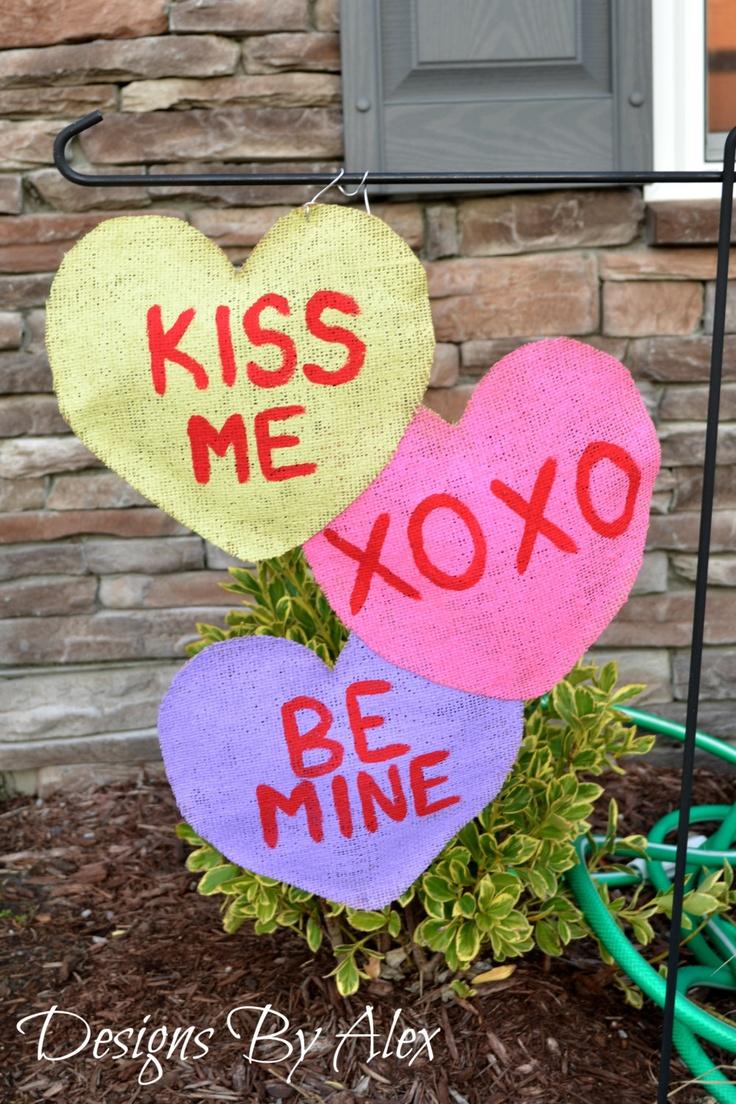 Valentine Conversation Hearts Burlap Garden Flag/door Hanger. $23.00, Via  Etsy.
