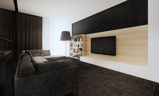 paneling on tv wall w storage underneath