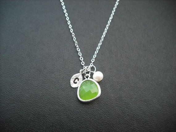 Ready To Ship - Bridesmaids gift, Wedding Gift, Hand stamped personalized initial necklace - lime green (peridot) bezel glass