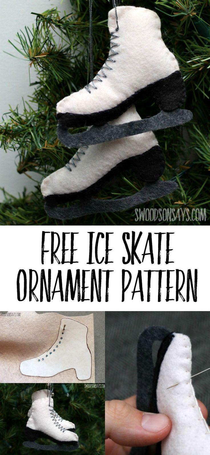A free felt ice skate ornament pattern
