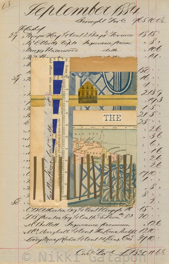 Page 63: September 27 1884 to February 1 2014 original abstract mixed media collage art vintage book page yellow blue brown beige tan indigo - Nikki Galapon