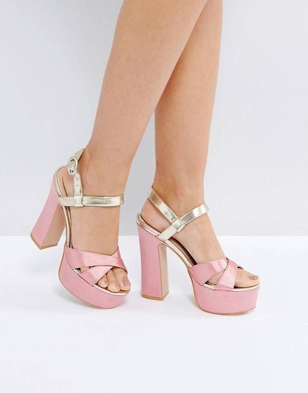 high heel sandals, Gold platform heels