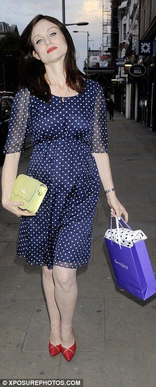 Going dotty: Pregnant singer Sophie Ellis Bextor showed off her baby bump in a cute polka ...