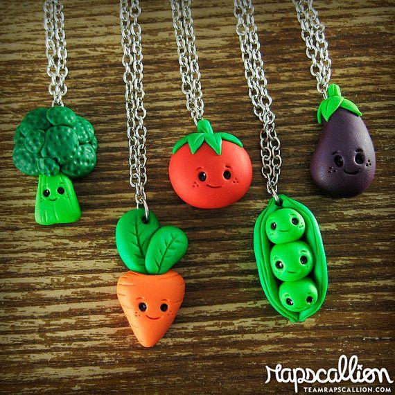 Kawaii Vegetable Best Friends Necklace Set of by rapscalliondesign