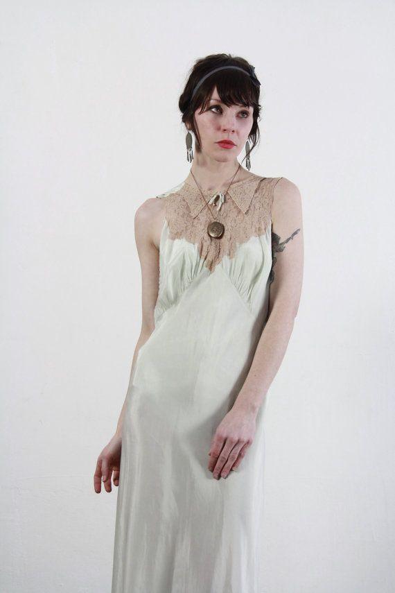 Vintage Mint Gown  Bias Cut Lingerie  Lace Negligée  by VeraVague, $175.00