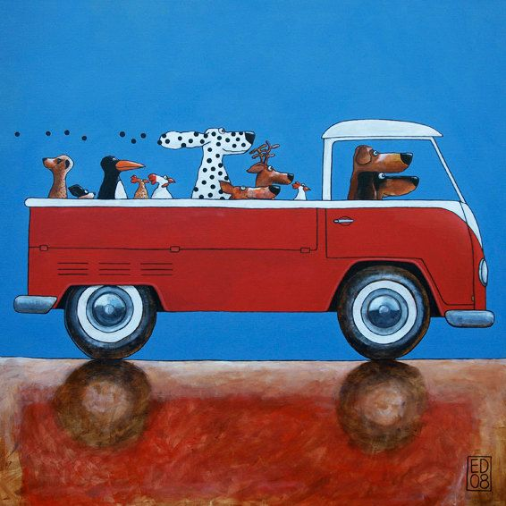 085 PICKUP ARTISTS - signed and numbered - VW pickup bus and animals - 14 x 14 cm / 5.5 x 5.5 inch. $18.00, via Etsy.