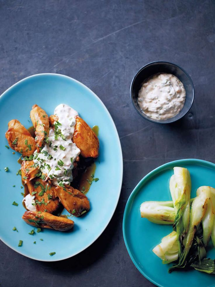 Chicken with coriander yoghurt chutney from Fast Cooking by James Martin | Cooked.com