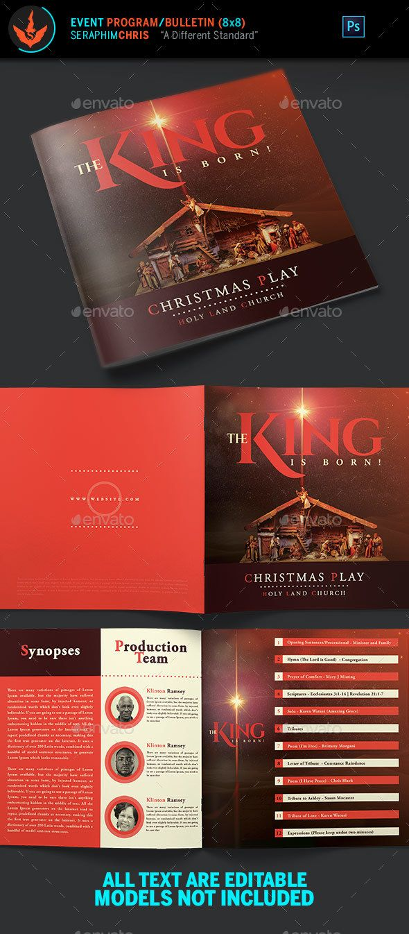 the king is born christmas program template informational brochures