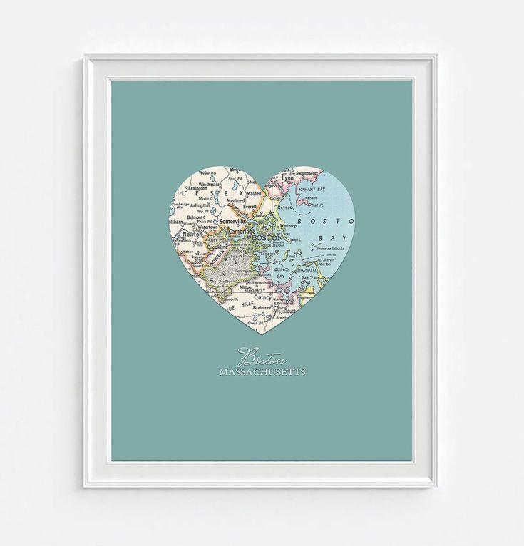 Boston Massachusetts Vintage Heart Map ART PRINT