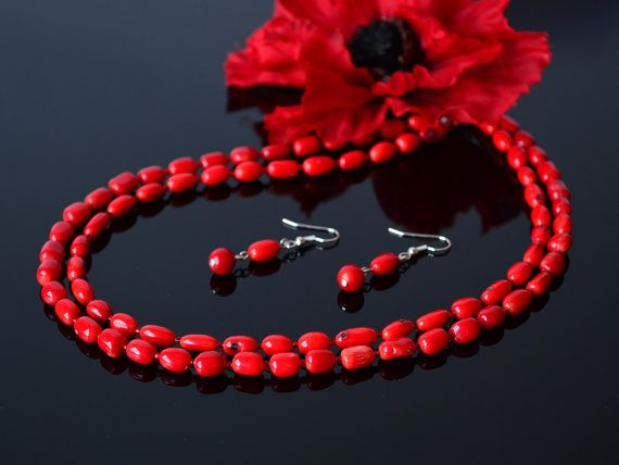Red Coral Necklace Red Necklace  Red Wedding by Beautyland on Etsy