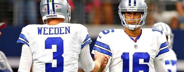Cowboys QB Brandon Weeden and Matt Cassel. (Getty Images)